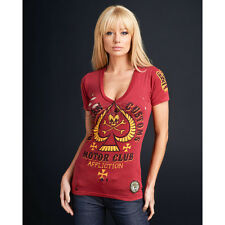Affliction ACMC American Customs Dead Spade Red Lava Wash T-Shirt AW4520 M L NWT
