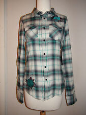 NWT $78 SINFUL by AFFLICTION Delphine Teal Plaid embroidered Wings SHIRT TOP
