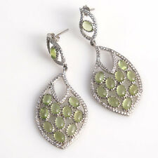 Natural Green Unique Cabachon Cut Peridot 92.5 Sterling Silver Dangle Earrings