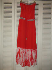 Gypsy 05 Cairo 100% SILK Tube Maxi Dress Strapless Tie-Dye $300NWT Orange/Coral