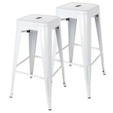 NEW Set of 2 Sturdy Steel Home Office Cafes Metal Steel Bar Stool - Glossy White