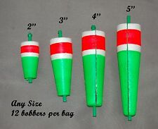 12 Popping Bobbers/Floats Weighted, Slotted Green/White/Red.Sizes 5'',4'', 3'',2