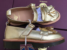 NIB Dr. Martens ABRIL Women's Gold Tassel Mary Jane Leather Made in England