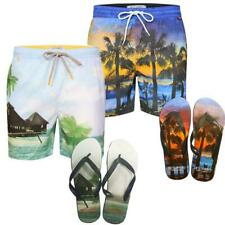 Mens casual beach surf board summer swim shorts Tokyo Laundry With Flip Flops