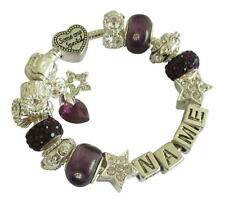 PERSONALISED CHARM BRACELET Any Name SWAROVSKI BIRTHSTONE HEART February