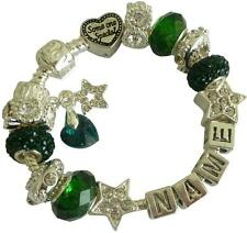 PERSONALISED CHARM BRACELET Any Name SWAROVSKI BIRTHSTONE HEART May EMERALD