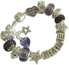 PERSONALISED CHARM BRACELET Any Name SWAROVSKI BIRTHSTONE HEART June AMETHYST