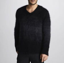 $650 NWT MEN'S JOHN VARVATOS COLLECTION Black Ombre cable MOHAIR Sweater Sz M