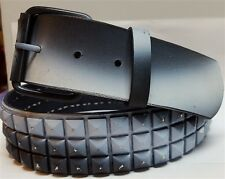 Snap On Three Row Punk Rock Star Black/White Studded Leather Belt.