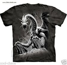 Mystic Dragon T-Shirt /Dark Fantasy Art Tee,Charcoal Tie Dye,Fierce,Black Dragon