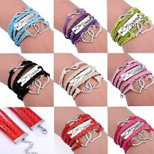 Chic Woman Ladies Infinity Double Heart Multilayer Hand-woven Charm Bracelet New