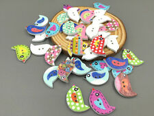 Craft Mixed Color Bird Wooden Buttons Sewing Appliques Scrapbook 23mm