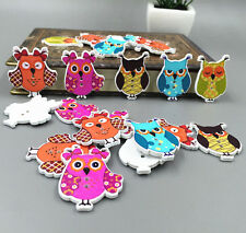 Cute Owl Wooden Buttons Sewing Scrapbook Crafts wood  2 hole 35mm