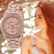 Luxury Chronograph Quartz Watch Ladies Women Plated Classic Round Crystals Watch