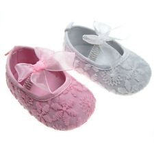Baby Girl Pre-Walker satin shoe with daisy embroidered design and bow PINK