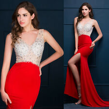 BEADED RED Split Long Evening Prom Party Formal Masquerade Homecoming Gown Dress