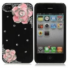 3D Bling Camellia Flower Diamond Crystal Back Case For iPhone 4 4S 4G