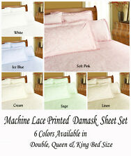 225TC Percale Machine Lace Printed Damask Sheet Set Double Queen King Bed Sizes