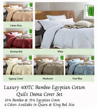 Luxury 400TC Bamboo Cotton Doona Quilt Doona Cover Set Queen & King Size Bed