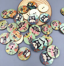 Retro Owl Style Wooden Buttons DIY 2 hole Sewing Embellishments Mixed 24mm