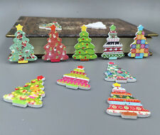 Assorted Christmas Tree Wood Buttons Scrapbooking Sewing Crafts Decorative 35mm