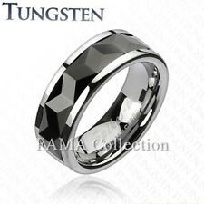 FAMA TUNGSTEN Multi-Faceted Prism Rhombus Cut Black IP Spinner Ring Size 9-13