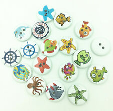Free 20PCS marine life pattern  2 Holes Wood Sewing Buttons Fit Sewing  20mm