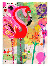 Framed Canvas Art Print Flamingo Flowers Modern Abstract Large Sarah Beetson