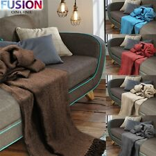 LARGE 100% Cotton Throw Woven Sofa Bed Herringbone Blankets 5 Sizes Giant Sizes