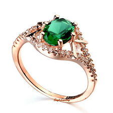 18k Rose Gold Plated Vintage Green Emerald Swarovski Crystal Engagement Ring R76