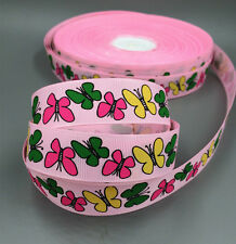 """DIY Multicolor 5 -10Yards 1 """"(25mm) Butterfly Grosgrain Ribbon  Craft White/Pink"""
