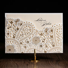 Laser Cut-out Flowers Themed Wedding Invitations Cards With Envelopes and Seals