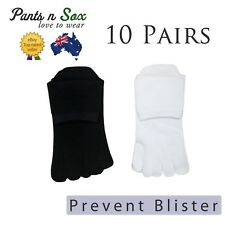 10 Pairs Mens Womens Toe Socks Cotton Ankle Five Finger Socks Black White