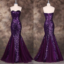 Women Sequined Fishtail Mermaid Evening Sequins Long Prom Gowns Bridesmaid Dress