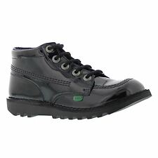Kickers Kick Hi Core Black Patent Youths Shoes - KF0000579-BXW