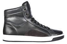 PRADA MEN'S SHOES HIGH TOP LEATHER TRAINERS SNEAKERS NEW BLACK  476