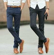 Stylish Mens Casual dress Office Slim fit straight leg plaid pants trousers