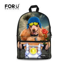 Animal Dog Canvas School Bag Travel Backpack Satchel  Rucksack Women Girl Kids