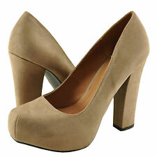 Women's Shoes Qupid Trish 01 Square Toe Chunky Heel Pump Taupe SU *New*