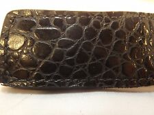 Genuine handmade Black Alligator Leather Super Strong Magnetic Money Clip