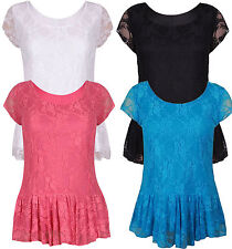 Womens Nauvelle Plus Size Peplum Lace Lined Blouse Evening Party Top 14-28