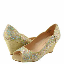 Women's Shoes Blossom Half-9 Embellished Peep Toe Rhinestone Wedge Nude *New*