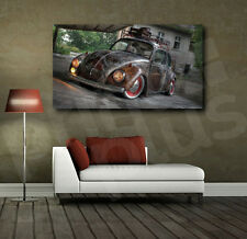 VW Beetle Rusted Old Car Canvas Art Poster Print Home Wall Decor