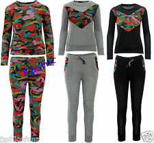 Womens Ladies Celeb Multi Camu Top and Jogger Bottom Loungewear Tracksuit Set