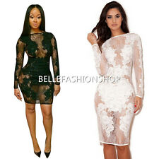 Women Sexy Long Sleeve Lace Bandage Bodycon See Though Party Cocktail Dress 030a