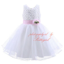 Baby Princess Bridesmaid White Flower Girl Dress Tulle Wedding Pageant Prom Gown