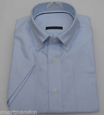 New Ex M&S Mens Sky Blue Oxford Slim Fit  Cotton Short Sleeve Shirt Sze15.5-18.5