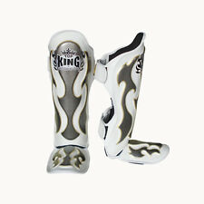 TOP KING Shin Guard Pro Empower White Genuine leather Muay Thai MMA Sparring