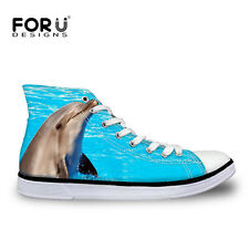 Animal Dolphin Womens Lace-up High Top Comfy Ankle Sneakers Casual Canvas Shoes