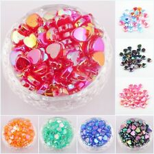 200pcs AB Color Heart Shaped Acrylic Spacer Beads Charms Making Jewelry 4*8mm I6